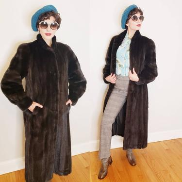 1980s Ranch Mink Fur Coat / 80s Hana K Shiny Glossy Chocolate Dark Brown Ankle Length Winter Fur Coat / M by RareJuleVintage