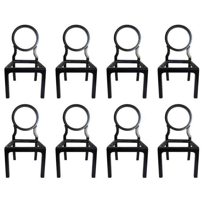 Chic Black Lacquered 1980s Dining Chairs, Set of Eight