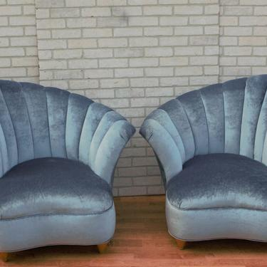 Hollywood Regency Fan Bach Luxe Lounge Chairs Newly Upholstered - Pair