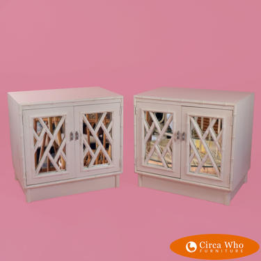 Pair of Mirrored Fretwork Faux Bamboo Nightstands by Omega