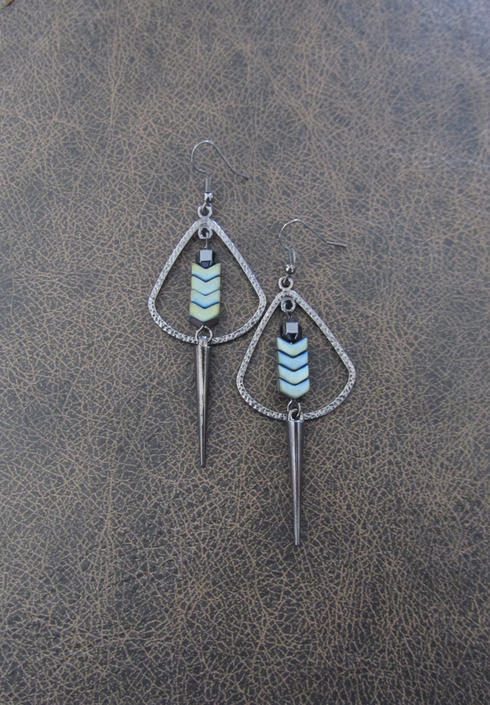 Gray hoop earrings, hematite gunmetal unique, modern industrial earrings, bold statement hippie unique artisan tribal ethnic earrings by Afrocasian