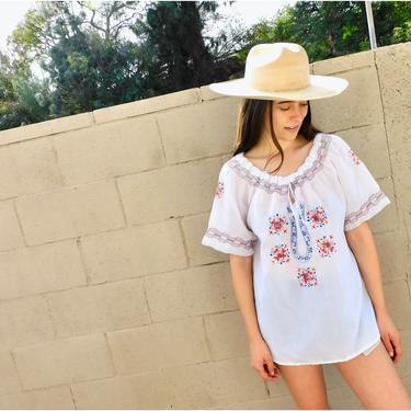 Athens Blouse // vintage 70s white dress top shirt boho hippie 1970s hand embroidered tunic Greek country angel sleeves // O/S by FenixVintage