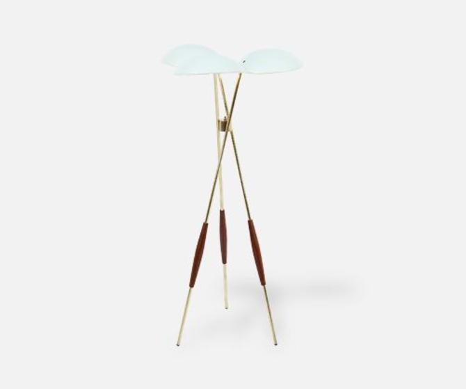 Gerald Thurston Brass Tripod Floor Lamp for Lightolier Co.