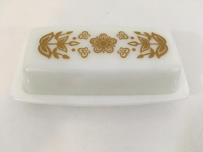 Vintage Pyrex Butterfly Gold Butter Dish Yellow Flowers Leaves Glass Mid-Century Retro Made in USA Ovenware by CheckEngineVintage