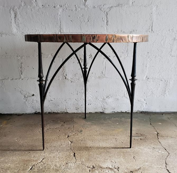 A Striking Brutalist Sculptural Hammered Copper Center Accent Table by WrightFindsinMCM