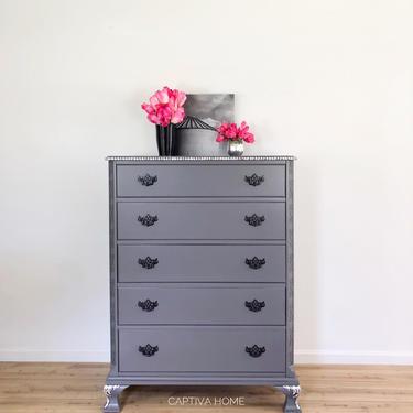 Grey Dresser, Oil Rubbed Bronze Handles, Silver Gilding, Fancy, Glam Details, Bedroom Furniture, High 5 Drawer Bureau, Chest, Storage by CaptivaHomeDecor