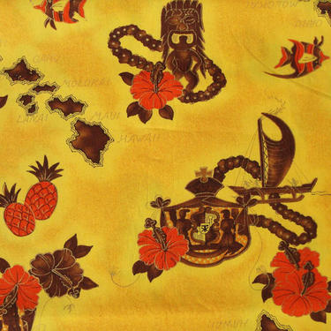 Vintage Hawaiian Fabric Yellow Tiki Polynesian Novelty Print 3 Yds by MetroRetroVintage