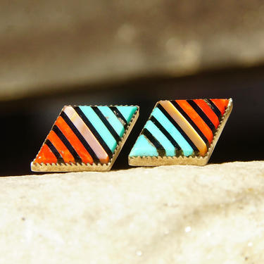 Vintage Inlaid Gemstone Silver Stud Earrings, Turquoise Coral Onyx & Mother of Pearl In Diamond Shaped Setting, Striped Pattern, 22mm x 13mm by shopGoodsVintage
