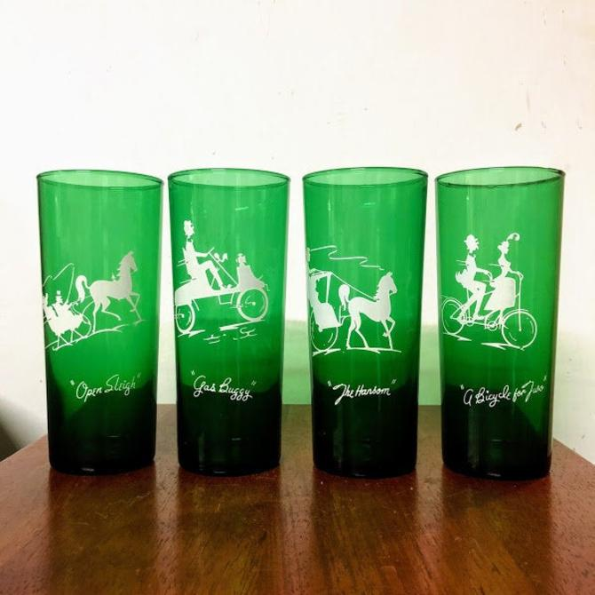 Vintage Anchor Hocking Forest Green Highball Glasses Set of 4 Modes of Transportation by OverTheYearsFinds