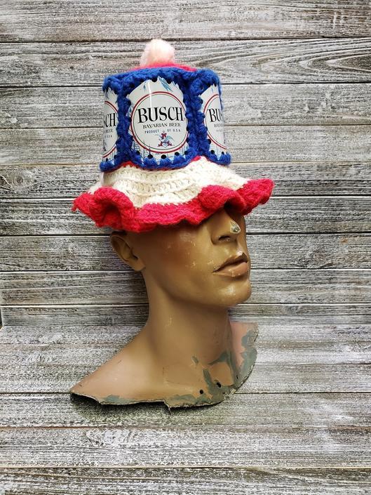 Vintage busch Beer Can Hat, Anheuser Busch Bucket Hat, Retro Knitted Beer Hat, Vintage Beer Hat, Floppy Crochet Beer Hat, Vintage Clothing by AGoGoVintage