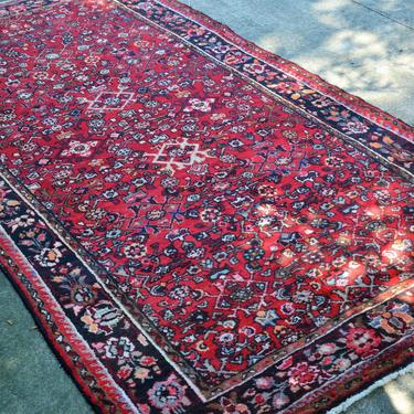 """Vintage Distressed Hand Knotted Persian Style Floral Area Rug - 9' 4"""" x 4' 8"""" by SourcedModern"""