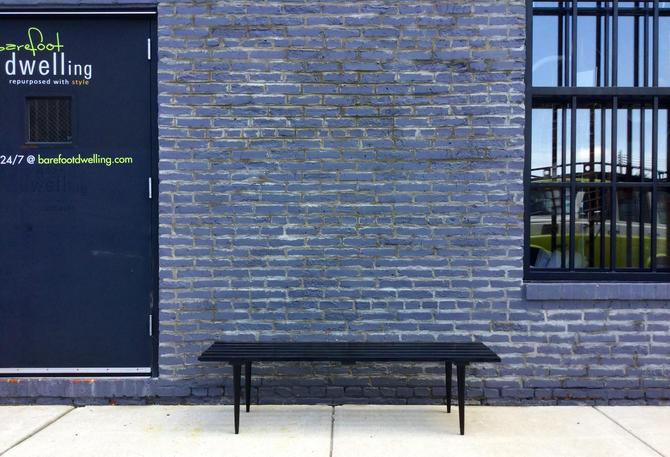 Mid-Century Modern Black Slat Table
