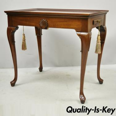 Vintage Solid Mahogany Queen Anne Tea Table End Table with Pull Out Trays