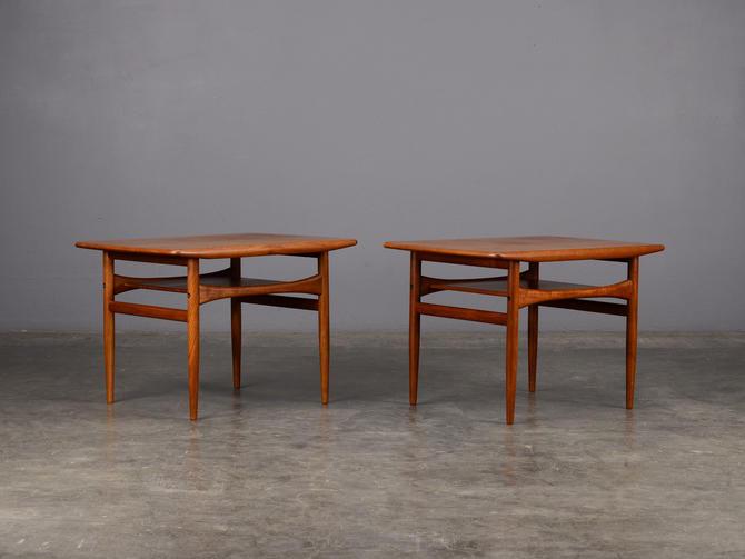 Pair of Mid-Century Side Tables Nightstands Danish Modern Teak by MadsenModern