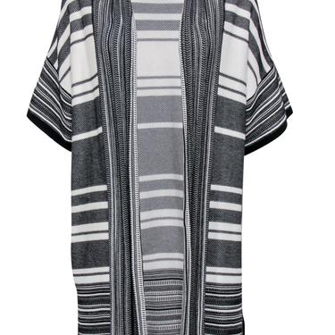 Vince - Black & White Striped Short Sleeve Open Front Longline Cardigan Sz S