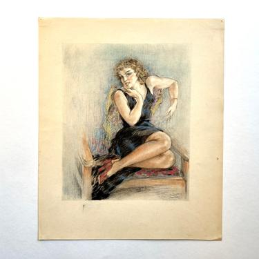 Original Edouard Chimot Drawing, Woman Seated on Chair, 1920s France Art Deco by templeofvintage