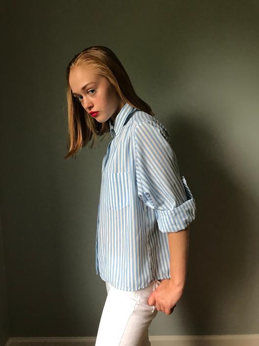 Vintage Cropped Menswear Buttonup Shirt by SpeakVintageDC