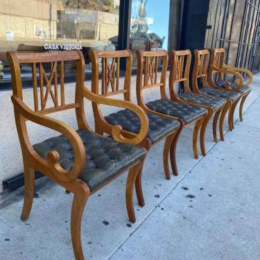 T-U-F-T-E-D   Six English Dining Chairs with Tufted Leather