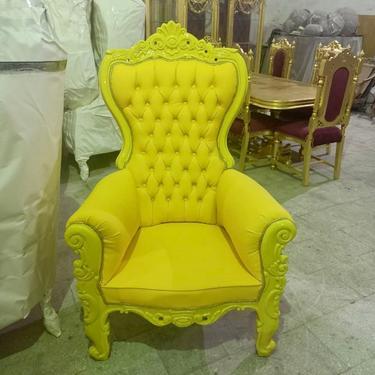 Yellow Children Throne Chair Yellow Velvet *2 LEFT* French Children Chair Throne Yellow Tufted Yellow Throne Chair Rococo Vintage Chair by SittinPrettyByMyleen