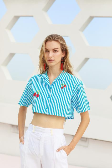 80s Blue Striped Cherry Hand Embroidered Crop Top Vintage Reworked Blouse by AppleBranchesVintage