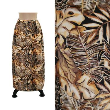 80s Leaf Print Maxi Skirt Large, Side Slit Long Skirt Size 14, Earth Tone Leaves, 1980s Clothes Women, Vintage Clothing from N Touch by MagpieandOtis