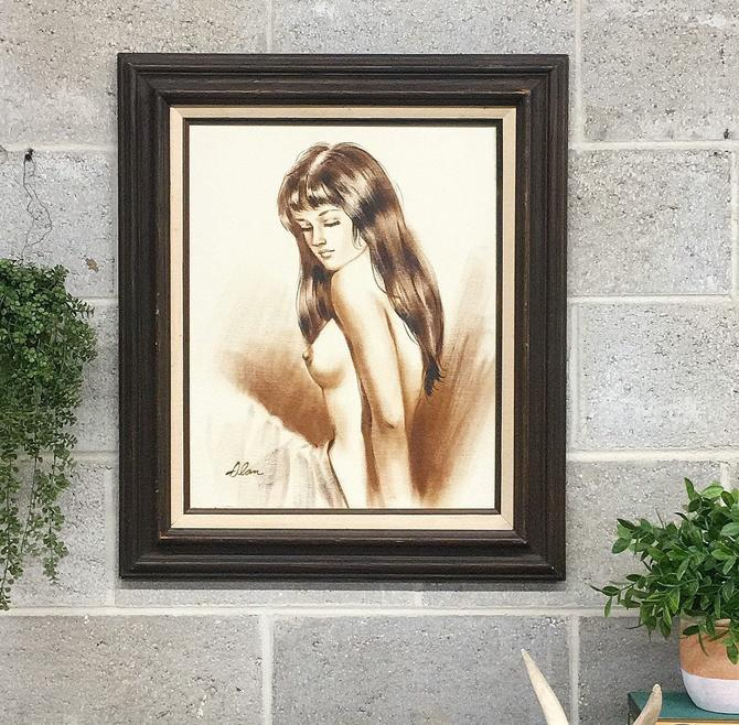 Vintage Nude Painting 1970s Retro Size 27x23 Bohemian + Womans Portrait + Nudity + Acrylic on Canvas + Brown Wood Frame + Home + Wall Decor by RetrospectVintage215
