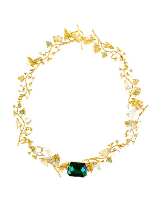 The Pink Reef Euro Emerald necklace with pearls and moonstone