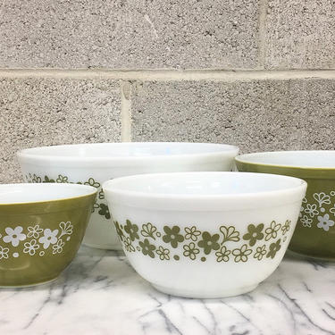 Vintage Pyrex Mixing Bowls Retro 1970s Spring Blossom Green + Ceramic + Flower Print + Set of 4 + Nesting Bowls + Kitchen Decor and Cookware by RetrospectVintage215
