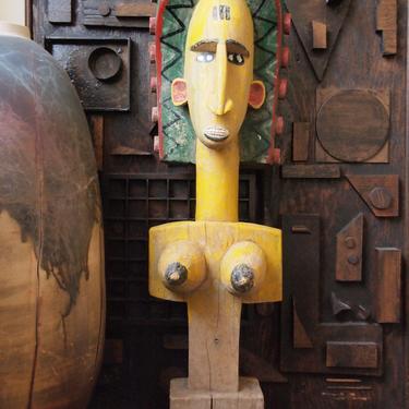 "African Art BAMANA PUPPET Carved WOOD Sculpture 37"" Vintage Dance Figure Mask Woman Female Yellow Tribal modern folk art primitive eames era by refugegallery"