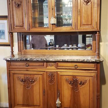 Item #RP3 19th Century French Walnut Buffet w/ Marble Top c.1880