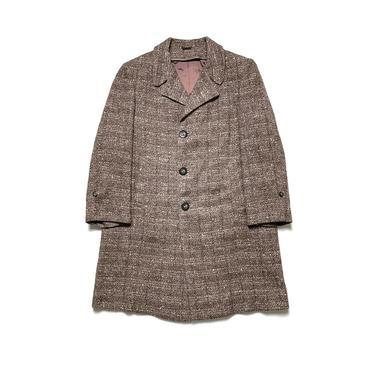 Vintage 1950s Women's 100% WOOL TWEED Overcoat ~ size S / Petite ~ Atomic Fleck ~ Jacket / Trench Coat / Swing ~ 50s by SparrowsAndWolves