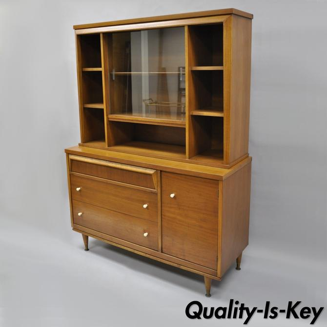 vtg bassett mid century modern walnut hutch china cabinet bookcase