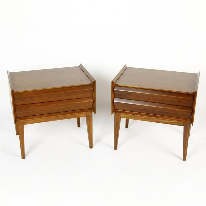 Pair of Walnut Nightstands with Storage