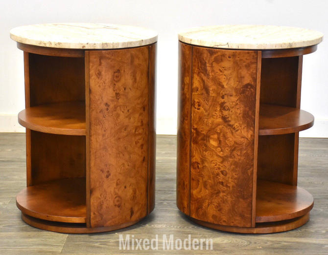 Widdicomb Burl and Travertine End Tables - A Pair by mixedmodern1