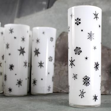 Set of 6 Vintage Federal Highball Glasses - Mid-Century Barware - 14oz Glasses - Frosted White with Black Atomic Snowflakes FREE SHIPPING by Bixley