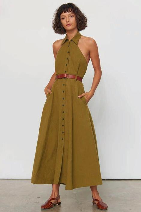 Rosemary Dress in Olive Linen