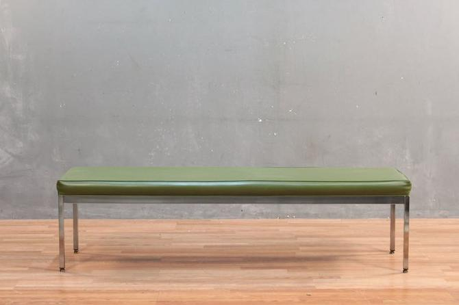 Mid Century Green Vinyl and Chrome Bench – ONLINE ONLY