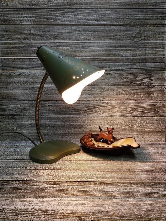 Vintage Toleware Lamp, Retro Tole Gooseneck Lamp, Metal Farmhouse Desk Lamp, Vintage Home Decor, Green Cone Country Lamp, Vintage Lighting by AGoGoVintage