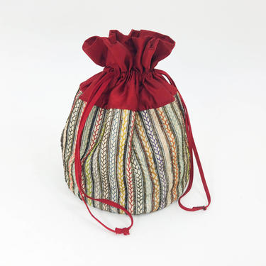 1900s Embroidery Pouch Handbag   Red Silk Trimmed Drawstring Bag by GlennasVintageShop