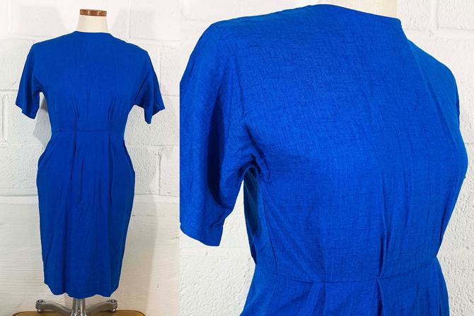 Vintage Royal Blue Dress Short Sleeve Michelle Stuart Sheath 1990s 90s Boho Minimalist Wedding Cocktail Party Flax Small XS by CheckEngineVintage