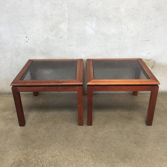 Mid Century Walnut and Smoked Glass End Tables