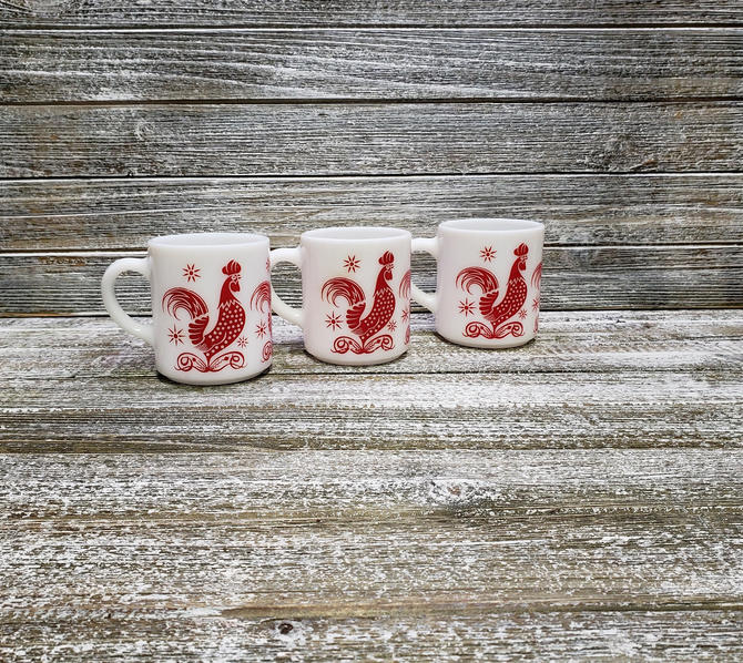 Vintage Red Rooster Coffee Mugs, Hazel Atlas White Milk Glass Cups, 1950's Red & White Kitchen, Coffee Tea Drinker Gift, Vintage Kitchen by AGoGoVintage