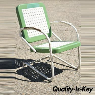 Art Deco Metal Basketweave Old Green White Porch Outdoor Spring Arm Chair