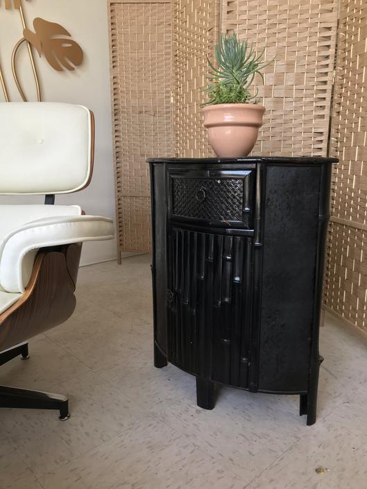 Black Vintage Bamboo Corner Table