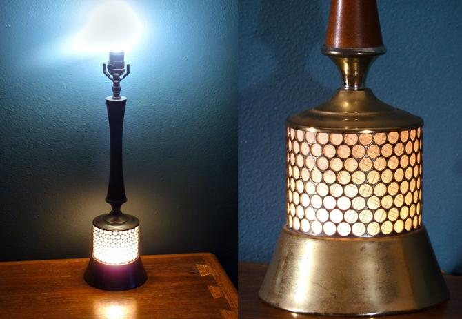 Vintage Mcm Br And Teak Table Lamp With Internal Light