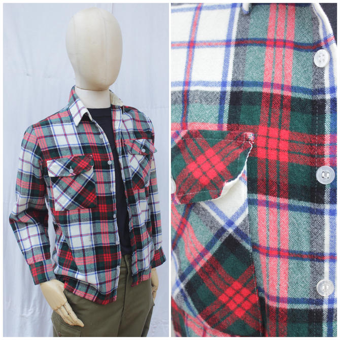 Vtg 80s Red and Green Plaid Flannel / Wool Workwear Shirt / Mens S by AmericanDrifter