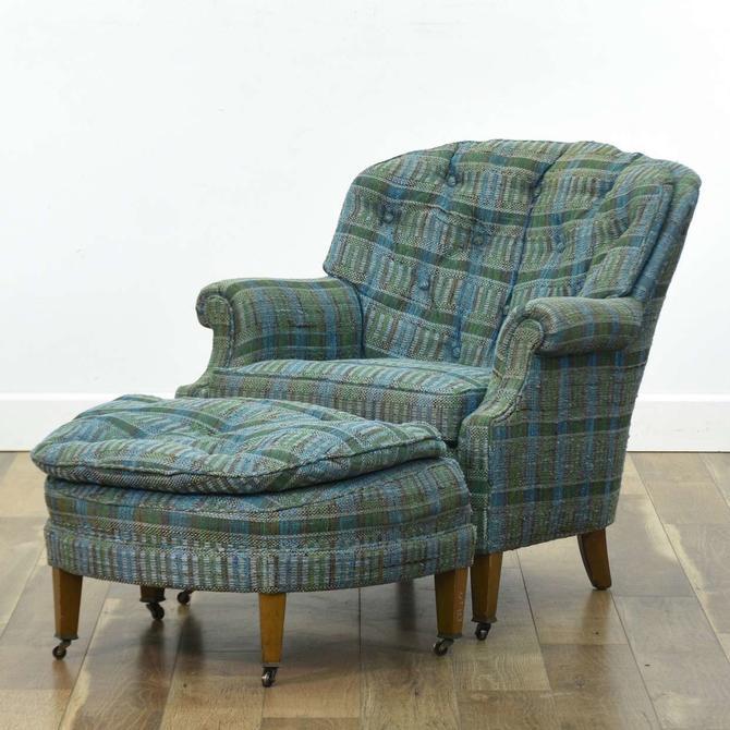 Hickory Chair Company Plaid Armchair W Ottoman C.1967
