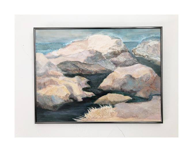 Vintage Impressionist Mountainscape Painting / Lobos Rocks by June Coy by SergeantSailor