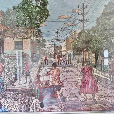 Vintage Art - Neighborhood Street Scene Art - Black Street Art - Framed Street Scene Art - Black Art by SoulfulVintage