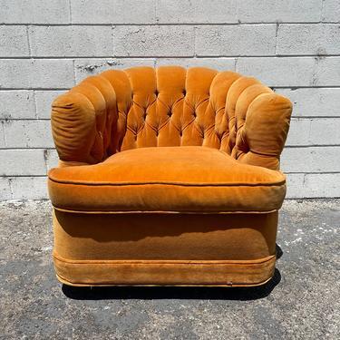 Vintage Accent Chair Tufted Armchair Tub Barrel Back Mid Century Modern Milo Baughman Style Hollywood Regency Vintage Seating Bohemian by DejaVuDecors